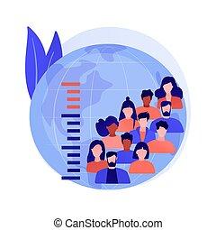 illustration., overpopulation, vetorial, conceito, abstratos