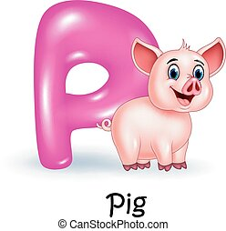 Illustration P of letter for Pig