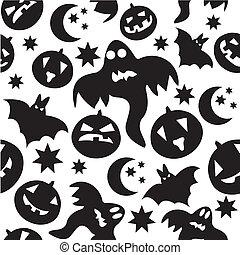 illustration., padrão, dia das bruxas, seamless, experiência., vetorial, fantasmas pretos, branca