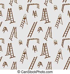 illustration., padrão, escada, seamless, silhouette., vetorial