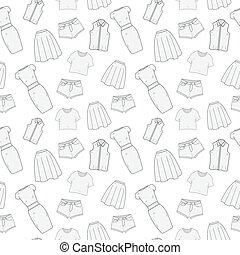 illustration., padrão, roupas, roupas, seamless, mulheres, experiência., vetorial, doodle, roupa, hand-drawing, roupa, style., sketch.