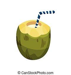 illustration., paille, coconut., boisson, vecteur, vert, moitié