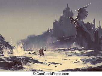 king walking through sea beach