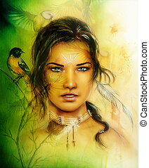 illustration painting portrait of a young enchanting woman face