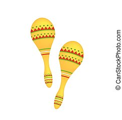 Illustration Pair Colorful Maracas Isolated on White Background, Musical Instrument of Maraca, Cuba, Mexico, Carnival - Vector