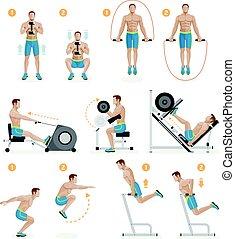 illustration., palestra, equipment., sport, vettore, esercizi, macchine