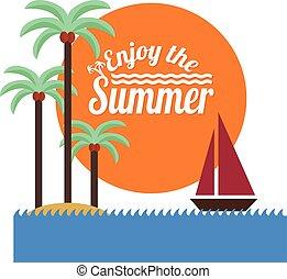illustration., palme, isola, tropicale, oceano, nave