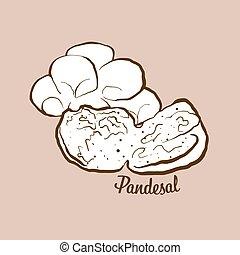 illustration, pandesal, hand-drawn, pain