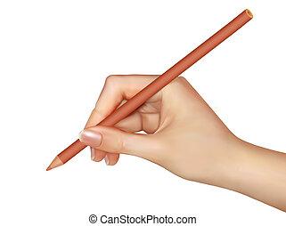 illustration., paper., mão, caneta, vetorial, escrita