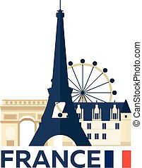 illustration., parís, viaje, francia, vector, skyline.
