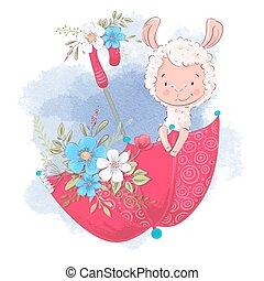 illustration, parapluie, lama, dessin animé, mignon, flowers., vecteur