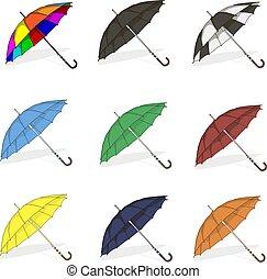 illustration, parapluie, vecteur, set., rain.