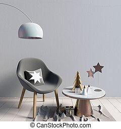 illustration., parede, modernos, cima, escandinavo, interior, style., natal, escarneça, 3d