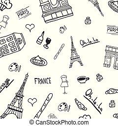 illustration., paris, viagem, mão, vetorial, desenhado, frança, doodles.