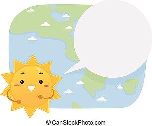 illustration, parole, soleil, journaliste, bulle, mascotte