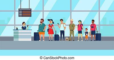illustration., passeggeri, board., coda, assegno, standing, cartone animato, partenze, iscrizione, gruppo, aeroporto