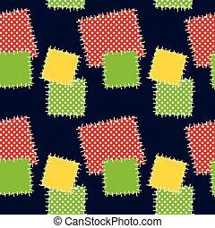 illustration., patches., vecteur, seamless, fond
