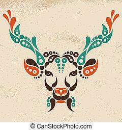 illustration., patrón, símbolo, venado, decoración, forma, ...