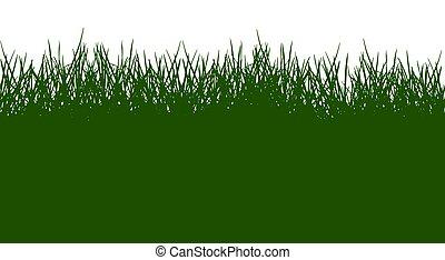 illustration., pattern., シルエット, 緑, ベクトル, 美しい, 草, seamless