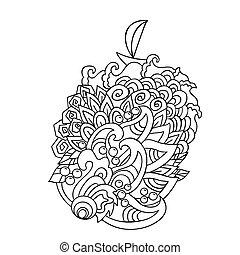 illustration., pattern., hand, vektor, hav, oavgjord, doodles, tecknad film, våg, style.