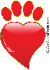 illustration Paw print love - Paw print love. Vector