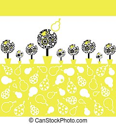 Illustration pear tree - Vector background with a pear tree