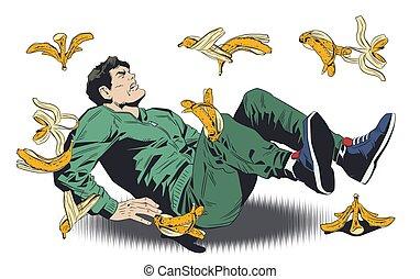 illustration., peel., se resbalar, hombre, plátano, acción