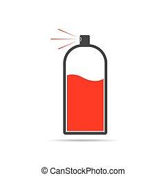 illustration., peinture, pulvérisation, vecteur, icon., rouges