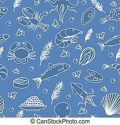 illustration., peixe, esboço, alimento, doodle, marisco, pattern., seamless, mão, fundo, vetorial, desenho, linha, style., texture., infinito