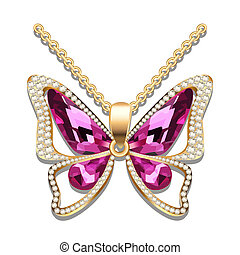illustration pendant gold butterfly with precious stones