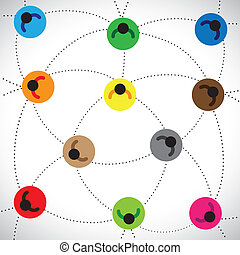 Illustration: people network & web based community. This graphic contains colorful icons of people connected with each other representing concepts of online community, network, team work, etc