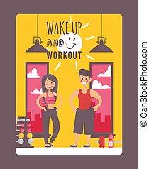 illustration., perdere, motivazionale, tipografia, uomo, gym., donna, vettore, su, stile di vita, allenamento, ispirazione, attivo, secondo, frase, sano, felice, scia, workout., manifesto, peso