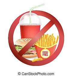 illustration., perigo, alimento, sinal., não, isolado, rapidamente, etiqueta, realístico, vector., permitido, ou, bebidas