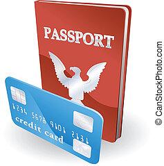 illustration., persönlich, concept., kreditkarte, reisepaß, identität