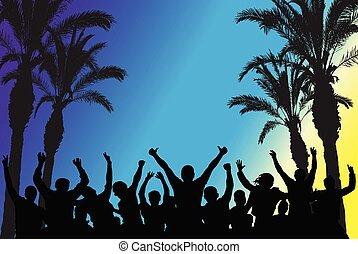 illustration., persone, alberi., ballo, discoteca, silhouette, vettore, spiaggia palma, festa