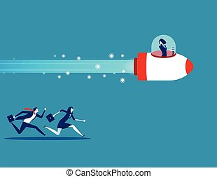 illustration., persone, vettore, disegno, concetto, appartamento, style., competition., affari