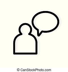 illustration, personne, vecteur, parole, icon-, bulle