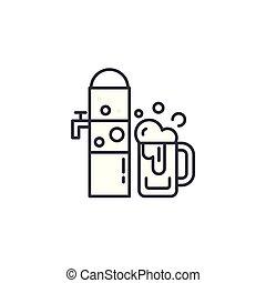 illustration., pescaggio, concept., simbolo, segno, birra, vettore, linea, icona, lineare