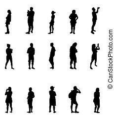 illustration., pessoas, silhuetas, vetorial, pretas, branca