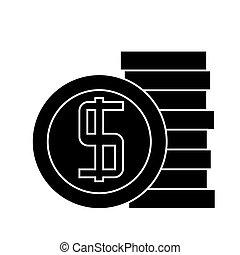 illustration, pièces, isolé, signe, vecteur, fond, icône