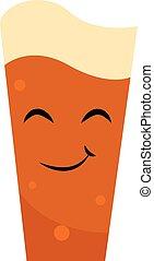 illustration., pilsner, imagen del color, cerveza, vector, o
