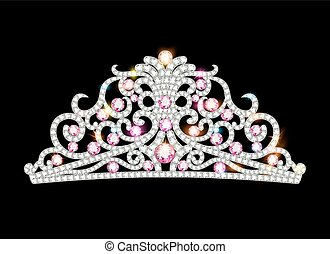 Illustration pink diadem feminine crown with jewels