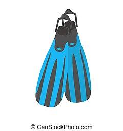illustration., pinne, equipment., vettore, tuffo, nuoto