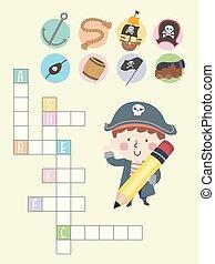 illustration, pirate, croix, garçon, gosse, puzzle, mot