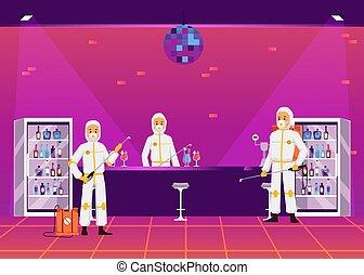 illustration., plage, räumlichkeiten, vektor, exterminators, gasthaus, steuerung, wohnung