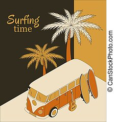 illustration, planches surf, autobus, fond, retro, paume, isométrique, guitare, vecteur, banner., arbres., deux, temps, surfer