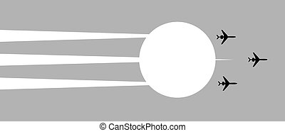 illustration plane in sky on background sun