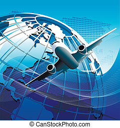 plane - Illustration, plane on blue globe on blue background
