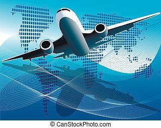 plane - Illustration plane on blue globe on blue background