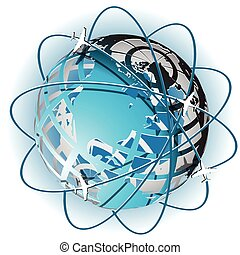 plane - Illustration, plane on blue globe on white...